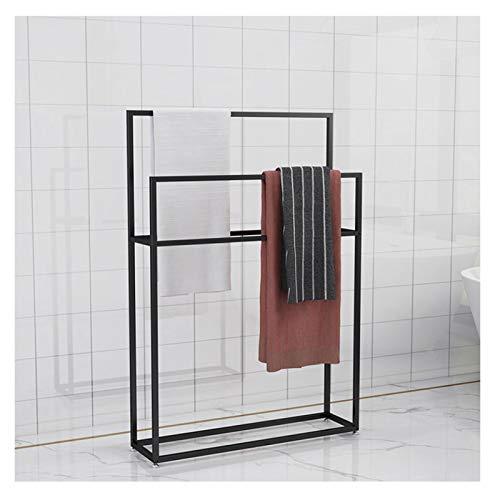EEUK Toallero de pie, toallero de pie, soporte para baño con 2 rieles, toallero cromado, soporte para ropa, valet, moderno, metal negro, 75 x 20 x 110