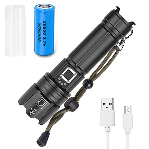 CAMTOA LED-Taschenlampe USB-Aufladung 90000 Lumen Superhell-Taschenlampe,3.7V 26650 Akku Taktische-Taschenlampe, XHP70 LED IPX5 Wasserdicht, 5 Beleuchtungsmodi,Geeignet für Camping- und Wandernotfälle