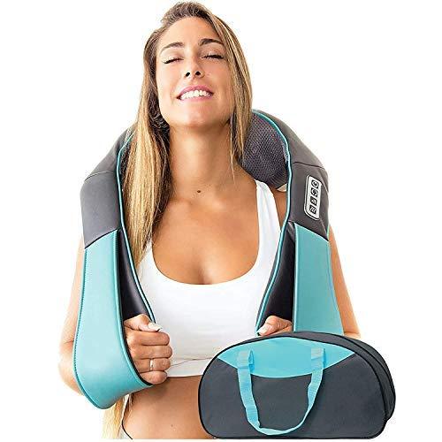 Masajeador Shiatsu de espalda, hombros y cuello con calor - Masaje Cervical - almohada amasadora 3D de tejido profundo para cuello, espalda, hombros, pies, piernas - masaje eléctrico de cuerpo entero
