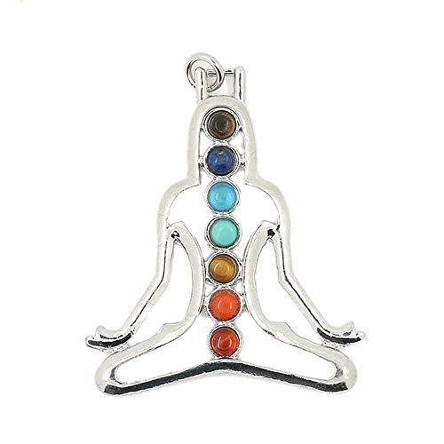 Purmy Collar de Mujer Yoga Siete Cristales de Chakras Piedra curativa Durante 5.5X4.6CM