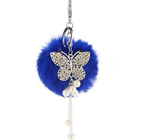 Schlüsselanhänger plüsch Ball Glitzer Schmetterling Strass Perel DIY Plüsch-Kugel Auto-Anhänger Pompom Weich Schlüsselring Handtaschenanhänger bommel Keychain Glücksbringer Geschenk (Blau)