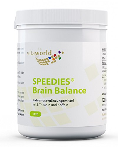 Vita World Speedies Brain Balance 120 cápsulas de L-Theanine + Cafeína Farmacia Alemania Made in Germany