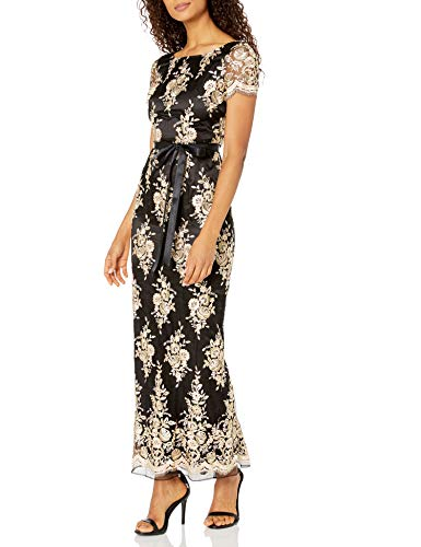 Tahari by Arthur S. Levine Women's Short Sleeve Embroidered Novelty Gown, Black/Gold, 4