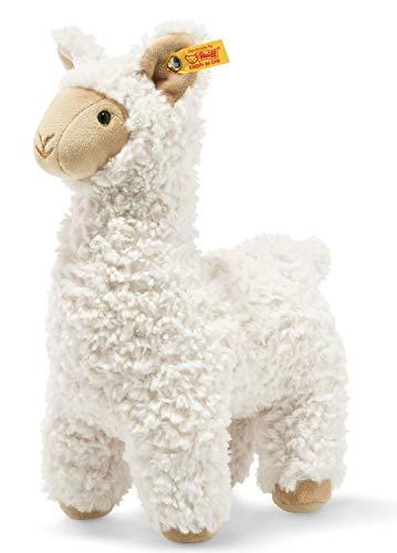 Steiff 69543 oryginalne pluszowe zwierzątko Lama Soft Cuddly Friends Leandro, przytulanka ok. 23 cm, pluszowy guzik w uchu, przytulanie dla dzieci od urodzenia, kremowy