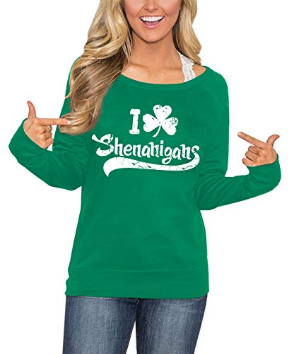 Moletom feminino de manga comprida verde para o Dia de São Patrício For G and PL, Shenanigans, Large