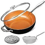 MICHELANGELO 5 Quart Nonstick Woks and Stir Fry Pans With Lid, Frying Basket & Steam Rack, Nonstick Copper Wok Pan With Lid, Ceramic Wok With Lid, Nonstick Frying Wok Flat Bottom, Induction Compatible