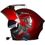 Casque Modulable Moto Bluetooth Intégral Casque,Avec Haut-Parleur Intégré Double Visière,Pour Scooter· Casque de Moto Homme et Femme,ECE Homologué M,XXXL=63CM