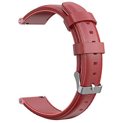 AWADUO Correa de repuesto para Nokia Steel HR, de 18 mm, de piel auténtica, compatible con Nokia Withings Steel HR(36 mm), Nokia Steel HR (36 mm), suave y duradera (cuero rojo)