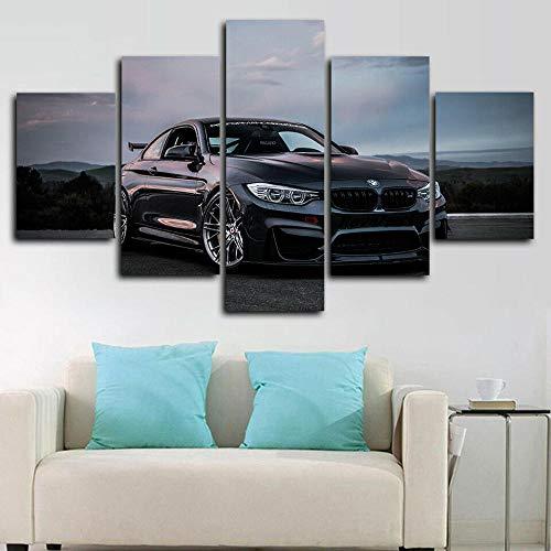 runtooer Bilder Dekorative malerei Spray malerei leinwand malerei 5 stück BMW M4 Leistung Super Auto Leinwand Wandbild, Möbel Art Deco, Rahmen