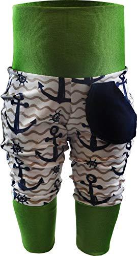 KLEINER FRATZ Baby Kinder Pumphose Hose Mädchen Babyhose Jungen Pants (92-104, Anker Navy/Welle beige/Bund Lime)
