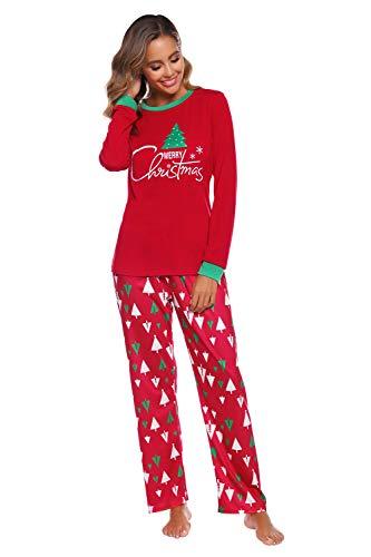 Conjunto de Pijamas de algodón para Mujer Camisa de Pijama Estampada con árbol de Navidad y Pantalones de Pijama...