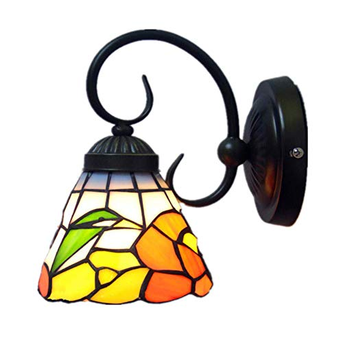 BANNAB Lámpara de Pared con luz de Dormitorio de Estilo Retro, Aplique con Pantalla de vidrieras para Interiores, lámpara de Pared Multicolor para Sala de Estar, Dormitorio, W23cm, H18cm
