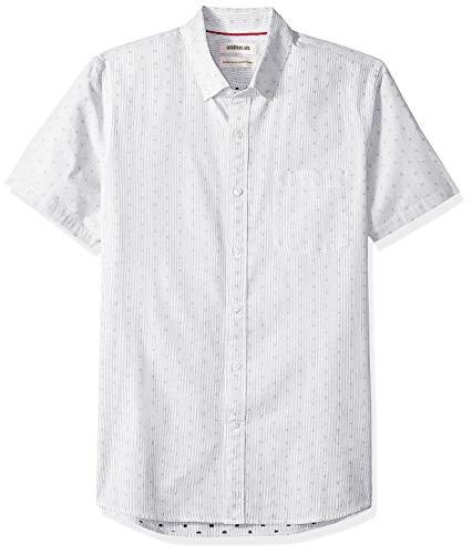Amazon Brand - Goodthreads Men's Standard-Fit Short-Sleeve Dobby Shirt, -black stripe dot, XX-Large