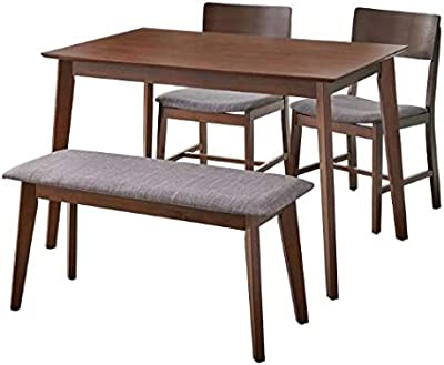 Target Marketing Systems Tiara Mid Century Space Saving 4-Piece Wood Dining Set with Table, 2 Chairs and Bench, Walnut