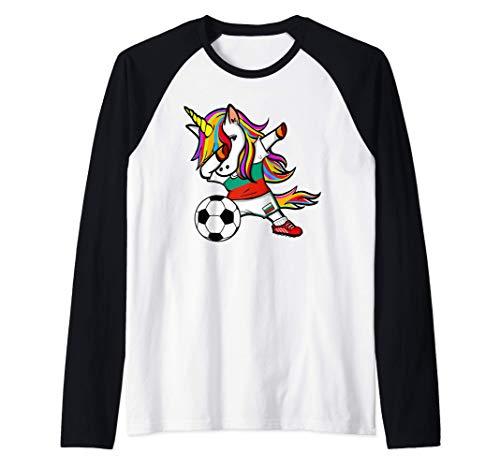 Unicornio Dabbing Unicorn Bulgaria Fútbol Bandera Búlgara Camiseta Manga Raglan