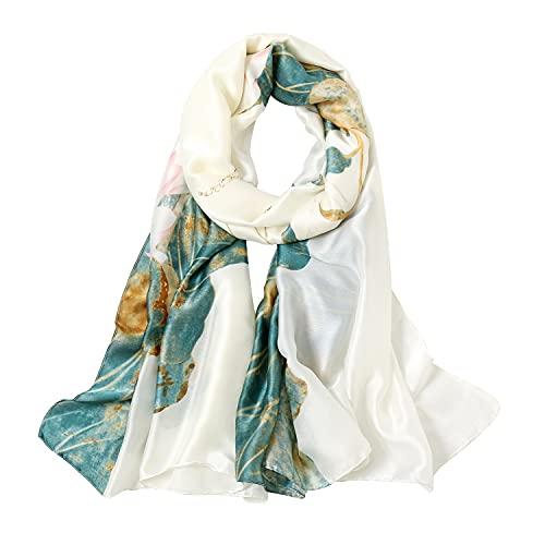 KAVINGKALY Sciarpa di seta grande Sciarpa lunga di raso Sciarpa elegante alla moda Avvolge leggere