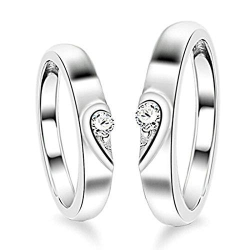 KnSam Paar Ring 925 Sterlingsilber Liebe Herz Partnerringe Eheringe Trauringe Hochzeit Verlobung für Damen und Herren, Silber Verstellbar Größe [Neuheit Ring]