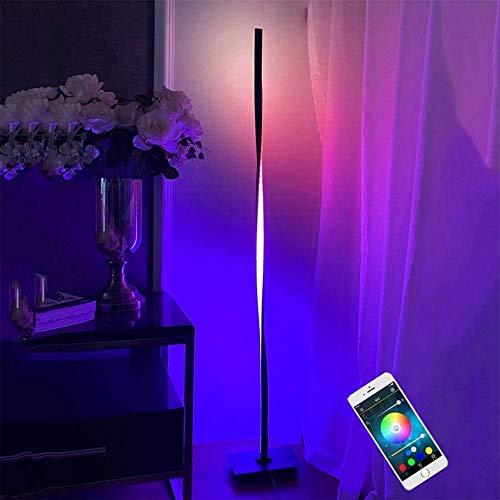 Intelligente Stehlampe RGB LED Uplighter Stehleuchte Dimmbar, 20 W Stehlampe mit Steh-/Sprachsteuerung, mit Fußschalter und 2 m Kabel, Funktioniert mit Smartphone, ideal für Party-Wohnzimmer Schlafzim