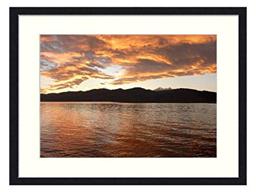 OiArt Wall Art Print Wood Framed Home Decor Picture Artwork(24x16 inch) - Lago Maggiore Lake Isbra Italy Panorama Water