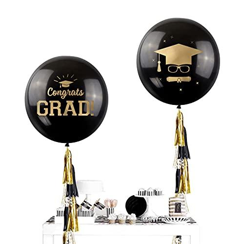 NICROLANDEE Decoración de fiesta de oro negro – 2 unidades globos negros con papel de seda guirnalda para 2021 baile de graduación, fiesta de cumpleaños decoración