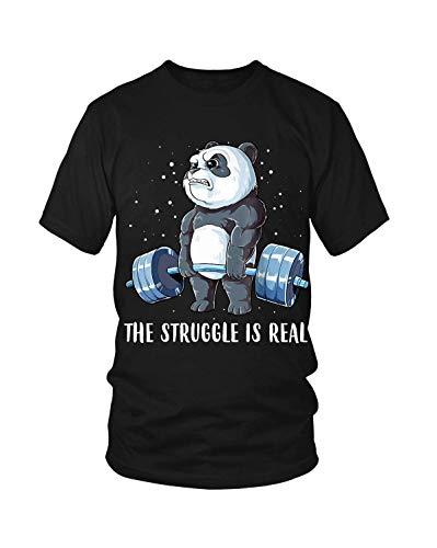 YBCamisetas Hombre's The Struggle is Real Panda Bear Deadlift Funny Gym T Camisetas