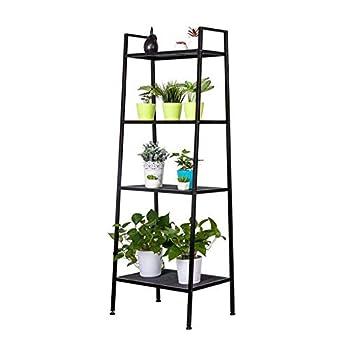 4-Tier Metal Ladder Shelf Multifunctional Ladder Bookshelf Plant Flower Stand Storage Rack Shelves Bookcase withMetal Mesh Layers for Home Living Room Office  Black
