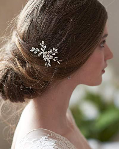 BERYUAN Juego de horquillas para el pelo con diseño de flor de cristal para mujer, con diamantes de imitación, accesorio para el pelo para novia, dama de honor, 2 unidades (plateado)