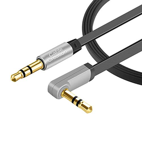 3.5mm Aux Cord, CableCreation 3.5mm Male to Male Audio Auxiliary Cable 90 Degree Right Angle Compatible with Headphone, Car Stereos, iPod, iPhone, Sony, Beats and More, Black/ [10ft/3M ]