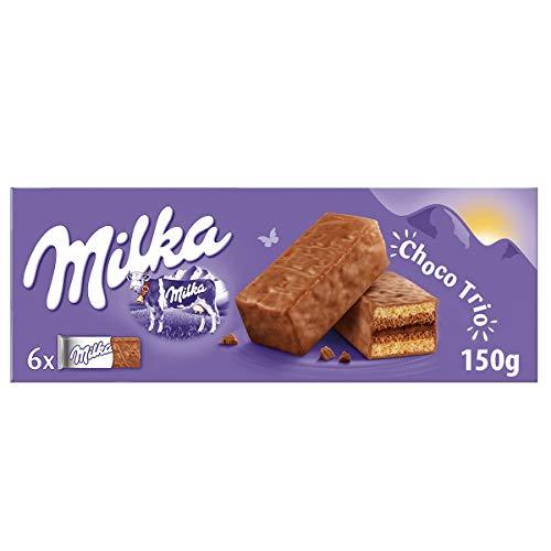 Milka Choco Trio Bizcocho Relleno de Cacao y Cubierto de Chocolate, 6 uds