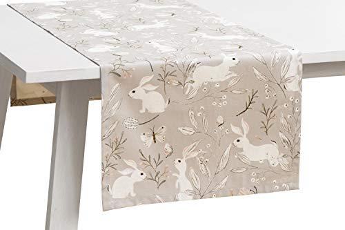 Pichler Tischwäsche Serie 'Hasenparty', Beton, Größe:Tischläufer 45 x 120 cm