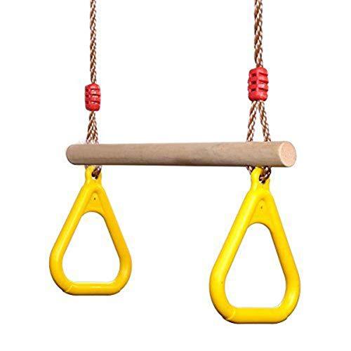 ADLIN Klimmzugstangen, Holz Trapeze Bar mit Gymnastik-Ringe for Klettergerüste und Gartenschaukel.Langsam Stretching und Fitness Weight Loss