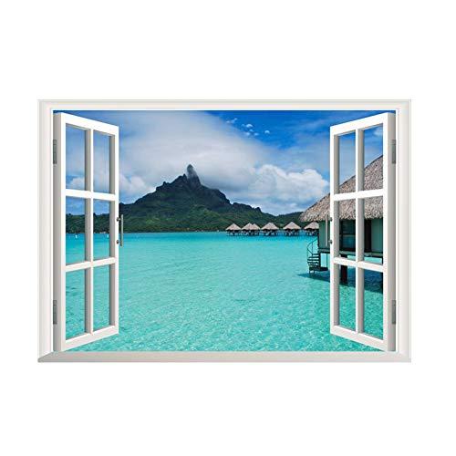 DDG edmms playa extraíble vista sobre la mar ventana 3d decorativo adhesivo aplique paisaje por día océano 3d estilo isla falsa ventana fondo adhesivo pared pared extraíble para el saló