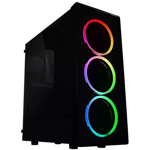 Raidmax NEON Gaming Computer Case See-Through Front and Side Panel with x3 RGB Front Fans Pre-Installed