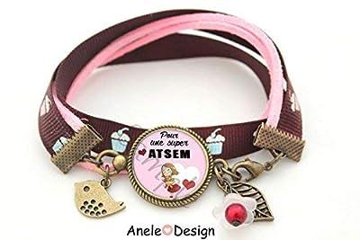 Bracelet Cadeau pour Atsem - Merci ATSEM - Super ATSEM! marron rose liberty oiseau