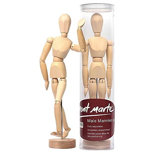 Mont Marte Mannequin Homme 30 cm – Modèle de dessin – Figurine Idéal – Marionnette en Bois – Pour les Débutants, les Professionnels et les Artistes