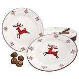 MamboCat Lot de 6 Assiettes Plates en Porcelaine Motif Flocons de Neige et cerf I pour 6 Personnes I Braten, Stollen I Christmas I X-Mas I Festday I