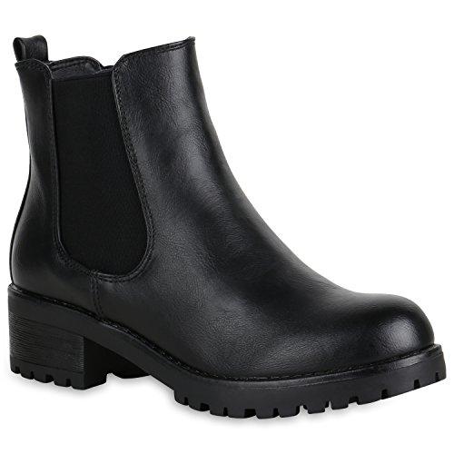 Damen Schuhe Stiefeletten Chelsea Boots Leicht Gefüttert Blockabsatz 151395 Schwarz Avion 39...