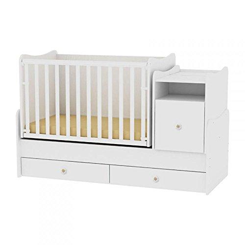 Lorelli Babybett Trend Plus NEW Schaukelfunktion Jugendbett Kommode Schreibtisch, Farben:weiß