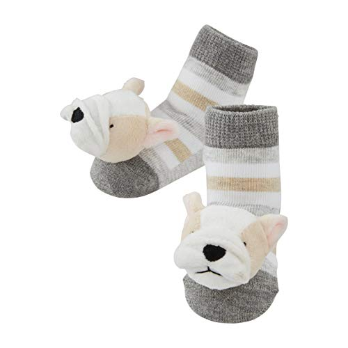 Mud Pie Baby Dog Rattle Toe Socks, Frenchie, 0-12 Months