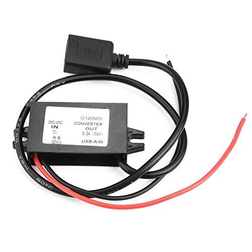 Convertidor reductor DC 12V a 5V 3A, adaptador de carga USB Regulador de voltaje DC-DC Buck, impermeable, estable, para audio GPS...