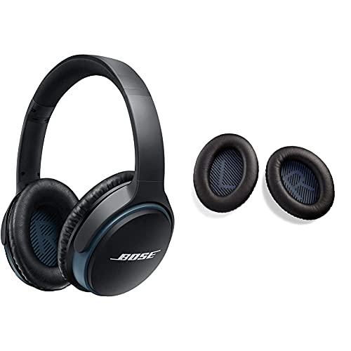 Bose Soundlink II Auriculares Supraurales Bluetooth con Micrófono, Control Remoto Integrado + 746892-0010 Kit De Almohadillas para Auriculares Externos Cerrados Soundlink, Color Negro