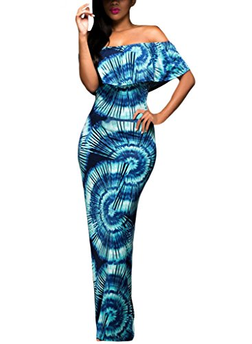 Happy Sailed Women African Print Off Shoulder Maxi Dress, Blue, X-Large