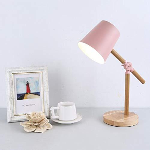 Lámpara de mesa de hierro Estudiante universitario Led Protección para los ojos Lámpara de mesa Hotel Simple creativo Lámpara de mesa decorativa (Color : Pink)