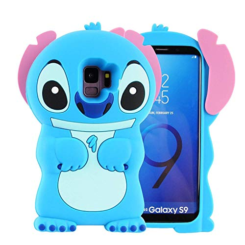 Blue Stitch Case for Samsung Galaxy S9 Plus +,3D Cartoon Animal Cute Soft Silicone Rubber Protective Kawaii Character Cover,Animated Funny Cool Skin Cases for Kids Child Teens Girls Guy(Galaxy S9Plus)