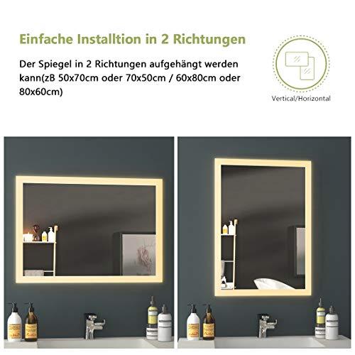 EMKE LED Badspiegel Badezimmerspiegel mit Beleuchtung Warmweissen Lichtspiegel Wandspiegel 2