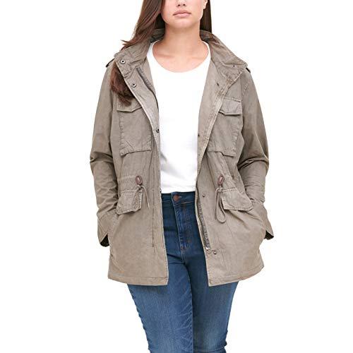 Levi's Women's Plus Lightweight Parachute Cotton Military Jacket (Standard & Plus Sizes), Light Grey, 2X