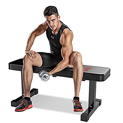 YOLEO Flat Weight Bench- 700 lbs Capacity Utility Exercise Bench for Weight Strength Training, Sit Up Abs Fitness Bench for Full Body Workout of Home Gym-43x14x18 Inches, Latest Black Deluxe Mode from YOLEO