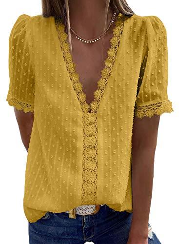 Elegancity Damen Bluse Spitzen Hemd V Ausschnitt Elegant Kurzärmel Tunika Dame Blusen Tops Oberteile XL, Gelb