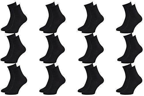 Rainbow Socks - Hombre Mujer Calcetines Colores de Bambu - 12 Pares - Negro - Talla 44-46