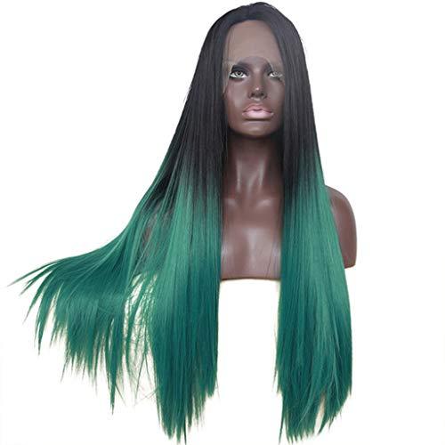 Pruik Vrouw synthetisch zwart groene pruik Straight zwart tot donkergroen synthetische lace front pruik (Color : 26Inch)